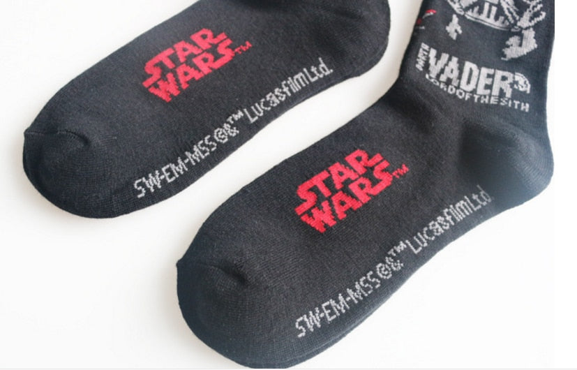 1 pair fashion new Hombre Mens Socks Darth Vader Star Wars Patterns Good Quality Cotton Casual Socks Men women toys