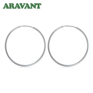 100% 925 Sterling Silver Hoop Earring For Women 50MM Big Round Circle Earrings Jewelry Gift
