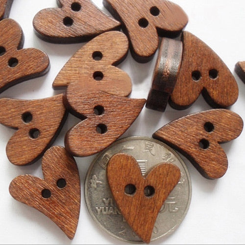 100 PCS/set Heart Shape Wooden Buttons Craft Scrapbooking 2mm for Garment Accessories Clothes Scrapbooking Decor Sewing Buttons