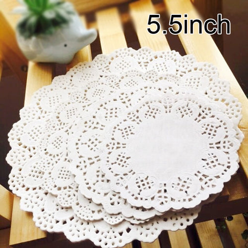 100 Pcs 5.5inch 14cm Eco-Friendly Grease-Proof White Paper Doilies For Party Wedding Christmas Table Decorative Cake Holder