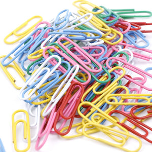 100 pcs Paper Clips Staple Files Parentheses Multi 0.8 cm 2.8 cm Stained