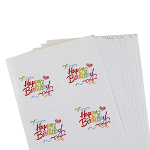100PCS/10 sheets Rainbow Happy Birthday Series Round Design Kraft Seal Sticker DIY Multifunction Package Gift Labels