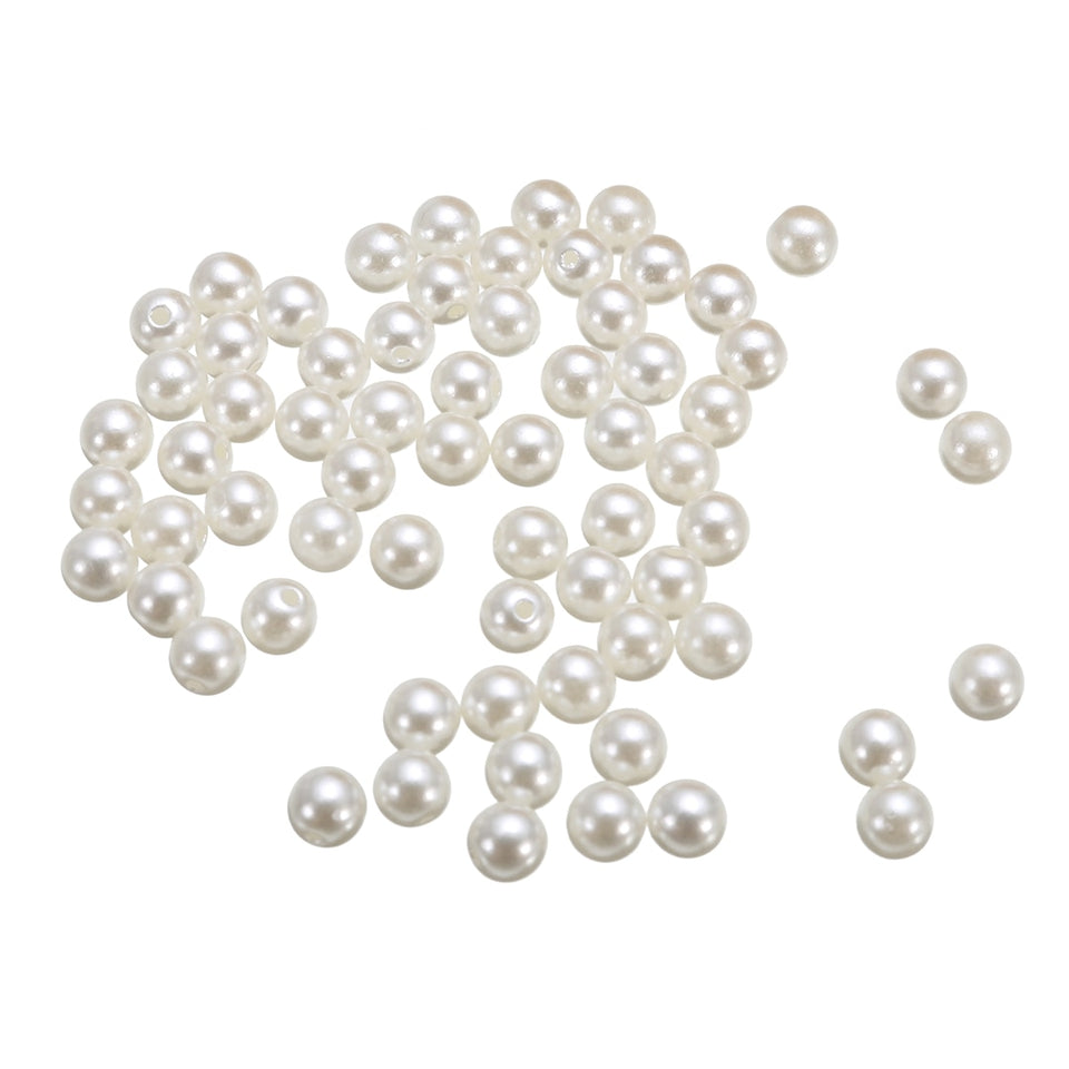 100pcs DIY Leather Crafts Pearls Rivets Studs 6mm Silver and Ivory For Bag Shoes Clothes Decorations