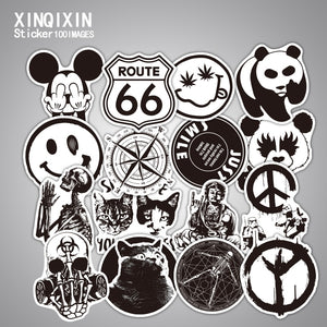 100pcs Mixed black and white stickers kids Home decor on laptop sticker decal fridge skateboard doodle stickers toy