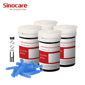 (100pcs for Safe-AQ) Sinocare Blood Glucose Test Strips and Lancets for Blood Sugar Detection Diabetes Tester