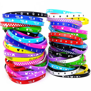 100pcs kids silicone bracelet wristband children boy girl assorted colors Love  bangle family party gift mix styles