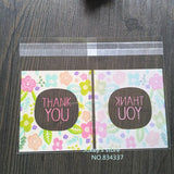 "100pcs/lot Flower Pattern ""Thank you"" Cookie packaging bags 7x7cm small gift bag self adhesive plastic bags Wedding Candy bag"