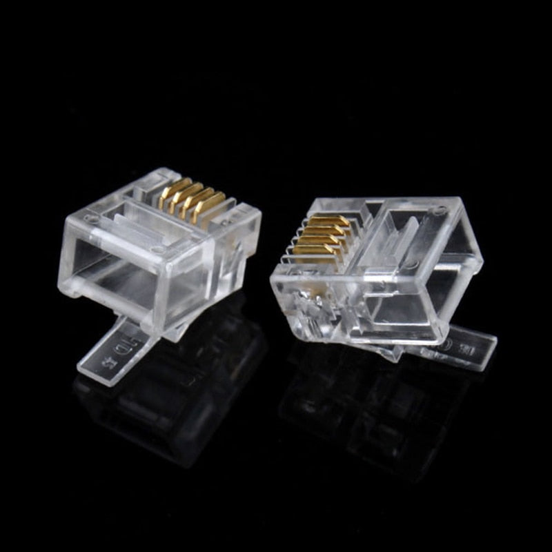 100x Durable 4 Pin RJ11 RJ-11 6P4C Modular Plug Telephone Phone Connector Hot E#8805