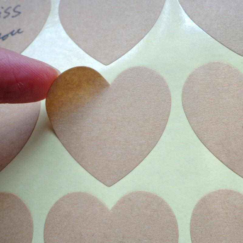 102pcs Heart Shaped Blank Kraft Paper Stickers Seal Labels Gift Lables Stickers Gift Wrapping DIY Wedding Party Decoration