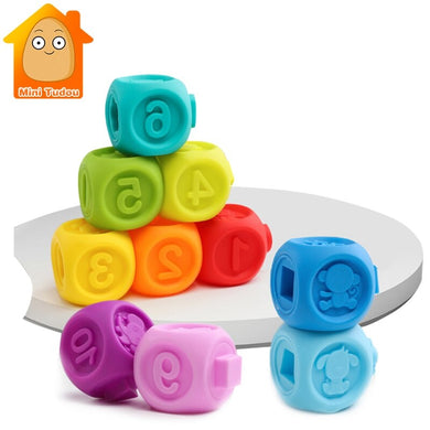 10PCS Baby Grasp Ball Toy 3D Animal Number Touch Hand Soft Balls Baby Massage Rubber Teethers Squeeze Toy Bath Ball