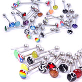 10PCS Mix Logo Tongue Piercing Barbell Bars Steampunk Women Piercing Tongue Rings Stainless Steel Fashion Body Jewelry T0001