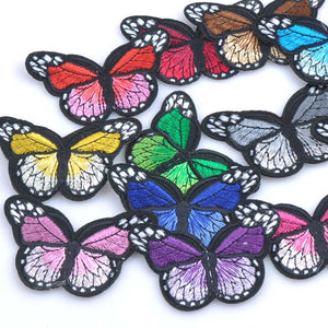 10PCs mix Iron On Patches For Clothing Multicolor Butterfly Embroidery Patch Appliques Badge Stickers For Clothes 34x30mm CP1585