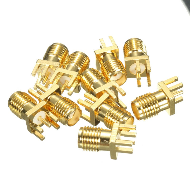 10Pcs 1.6mm SMA Female Jack Solder Nut Edge PCB Clip Straight Mount Gold Plated RF Connector Receptacle Solder