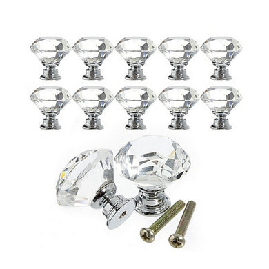 10Pcs 30mm Diamond Shape Crystal Glass Knobs Cupboard Pulls Drawer Knobs Kitchen Cabinet Handles Furniture Handle Hardware
