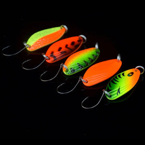 10Pcs/Lot Fishing Colorful Spoon Lures 3.5cm 4.5g Single Hook Metal Baits High Reflective Light Attraction Mixed Color