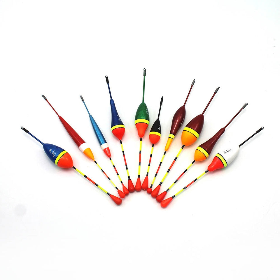 10Pcs/Lot Fishing Floats Set Buoy Bobber Fishing Light Stick Floats Fluctuate Mix Size Color float buoy For Fishing Accessories