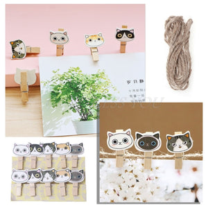 10Pcs Lovely Cat Mini Wooden Craft Clip Photo Paper Peg Pin Clothespin With Rope