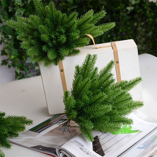 10Pcs Pine tree branches Artificial plastic pine leaves for Christmas DIY wedding party decoration flower arrangement wreath