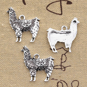 10pcs Charms alpaca Grass Mud Horse 26x25mm Antique Silver Plated Pendants Making DIY Handmade Tibetan Silver Jewelry