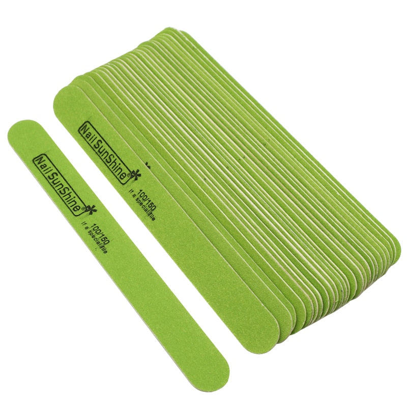 10pcs Green Wood Nail File Buffer Polishing Block Sanding Files Wooden Sandpaper 100/150Grit Nail Art Tool Straight Thick Stick