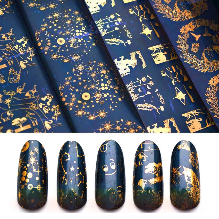 10pcs Holographic Transfer Foil For Nail Laser Constellation Starry Nail Art Foil Gold Foil For Nail Decal Art Stickers ZJT3010