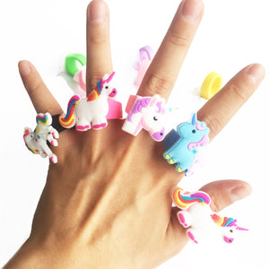 10pcs Rubber Rainbow Unicorn Rings Cartoon Finger Jewelry for Girls Birthday Christmas Party Gifts Unicorn Party Supplies