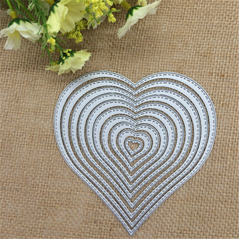 10pcs/lot. Love Heart Shapes Metal Cutting Dies Stencil Scrapbooking Photo Album Card Paper Embossing Craft DIY Cutting Dies