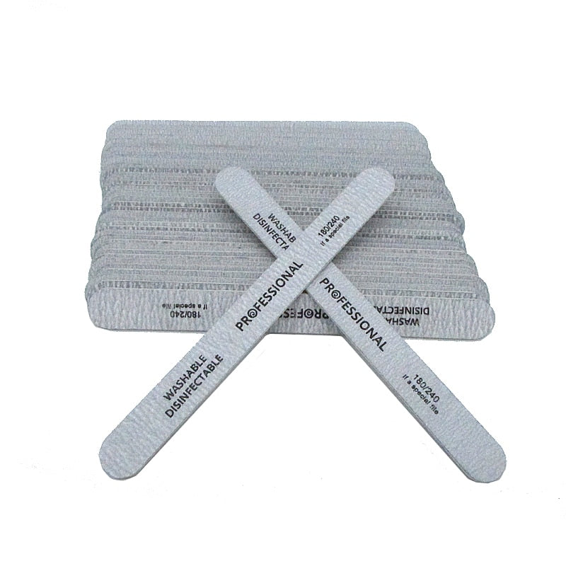 10pcs/lot Nail Files Brush Durable Buffing Grit Sand Fing Nail Art Accessories Professional Grey Sanding Nail Files For Manicure