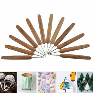 10pcs/set Bamboo Crochet Hook 0.75-3.0mm Mix Size Yarn Weave Knitting Needles Sewing Tool Crochet Needles Set For Women DIY Tool