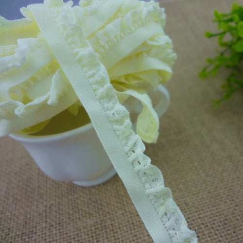 #1164 yellow cream Color Elastic Band 4yards/lot Lace Trim 13MM(4/8
