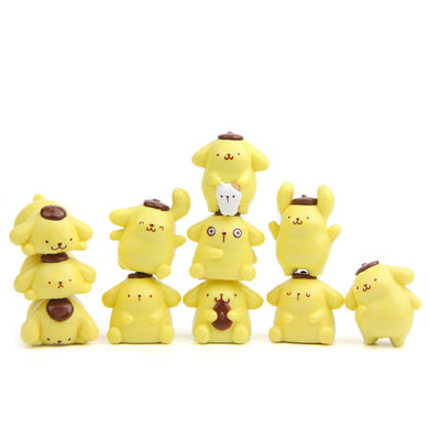 11pcs/lot F-toys Sanrio Gourmet Version Pom Pom Purin Action Figures Toys Children DIY Micro Landscape Decoration Props Gifts