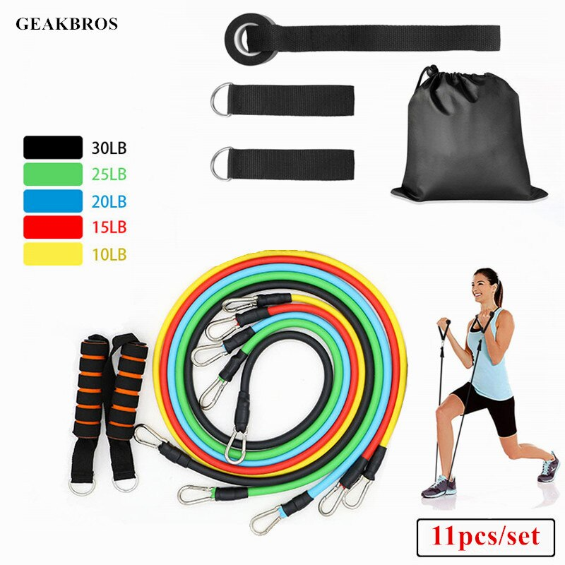 11pcs//Set Natural Tube Sport Exercise Stretched Bands Elastic Training Pull Rope