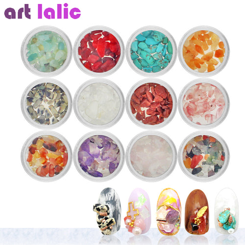 12 Colors/set Natural Stone Quartz Gemstone Turquoise for Acrylic Nail Art DIY Charm Hand Crafts Decoration