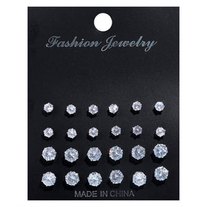 12 Pair/Pack AAA CZ Shiny Wedding Stud Earrings Set for Women Men Crystal Jewelry Accessories Earing Oorbellen