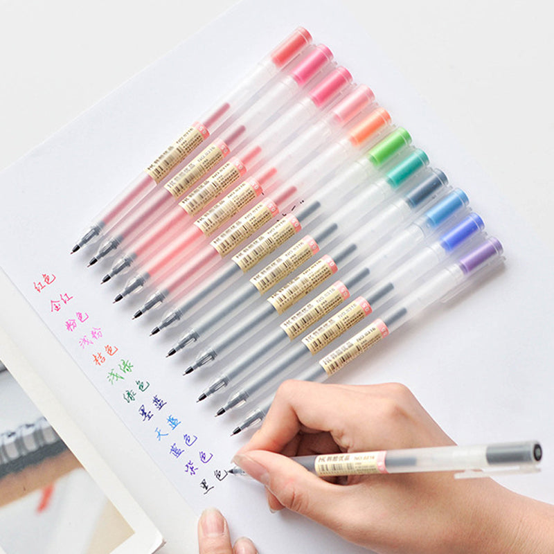 12 pcs/lot Creative 12 Colors Gel Pen 0.5mm Colour Ink Pens Marker Writing Stationery Fashion Style School Office Supplies Gift