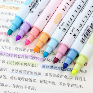 12 pcs/lot Japanese Stationery Mild Liner Double Headed Fluorescent Pen Colored Drawing Painting Highlighter Art Marker Pens