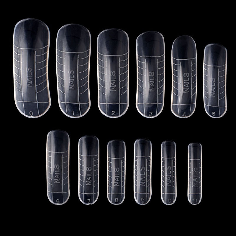 120 Pcs Quick Building Mold Tips Nail Dual Forms Finger Extension Nail Art UV Builder Poly Gel Tool