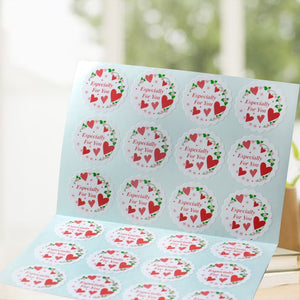120Pcs Especially for you Heart Floral Handmade Cake Packaging Sealing Label Kraft Sticker Baking DIY Gift Stickers M1118