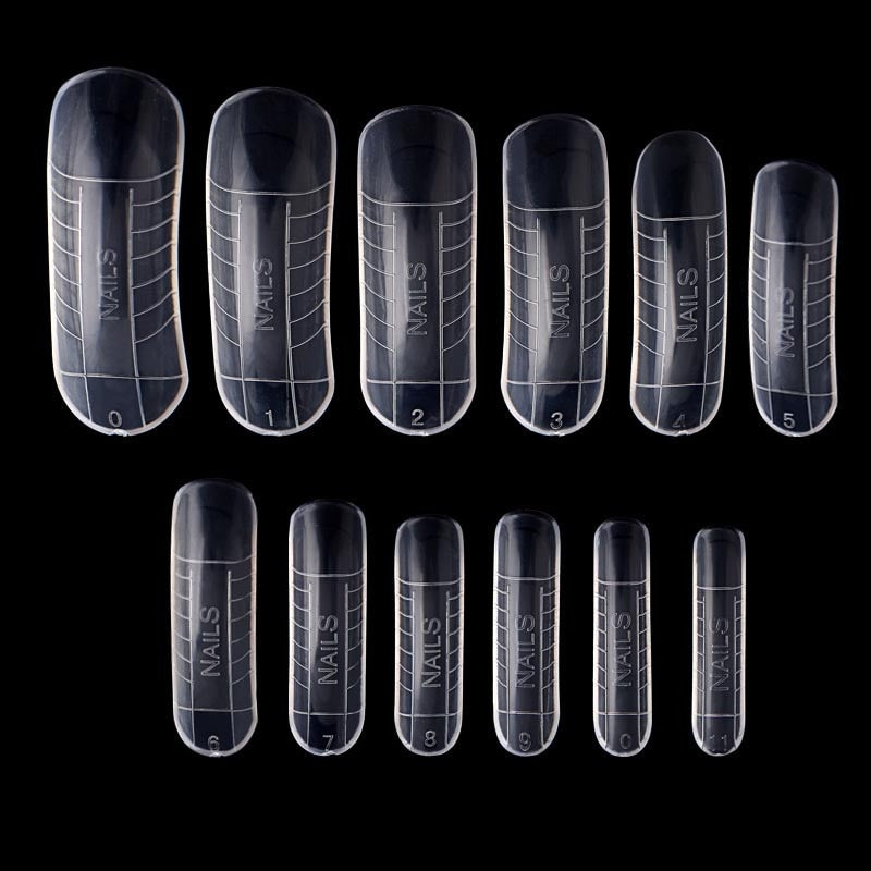 120pcs/lot Quick Building Fake Nails Mold Tips Nail Dual Forms Finger Extension clear Easy Nail Art UV Builder Poly Gel Tool