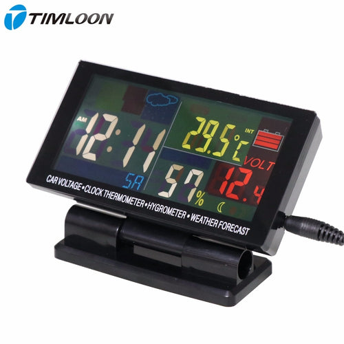 12V-24V Car Voltage,Clock Thermometer,Hygrometer,Weather Forecast Monthly Calendar With Color Display Large Screen