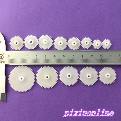 12pcs K004Y DIY Plastic Shaft Gear Set Single Layer Transmission Gear Robot Parts  High Quality On Sale