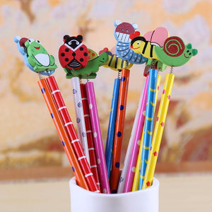 12pcs/Lot Random Cute Cartoon Insect HB Pencil With Eraser Children Creative School Stationery Kawaii Flog Snails Pencils