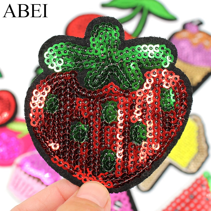 12pcs/lot Mix Sequined Fruits Patches Iron On Ice Cream Stickers for bags DIY Jeans Sweaters Applique Handmade Sewing Patchwork