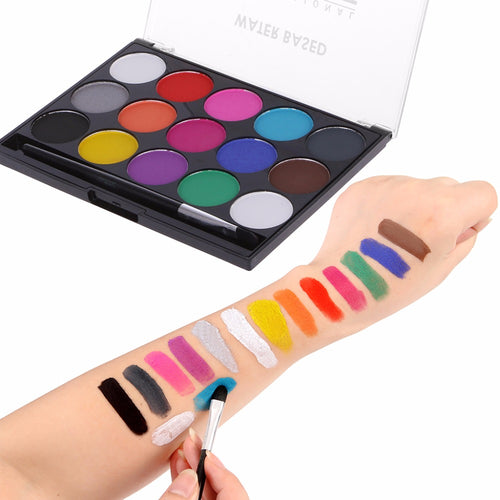 15 Colors Face Body Paint Makeup Facial Painting Water Ink Oil Graffiti With Brush For Christmas Fancy Carnival Party C26