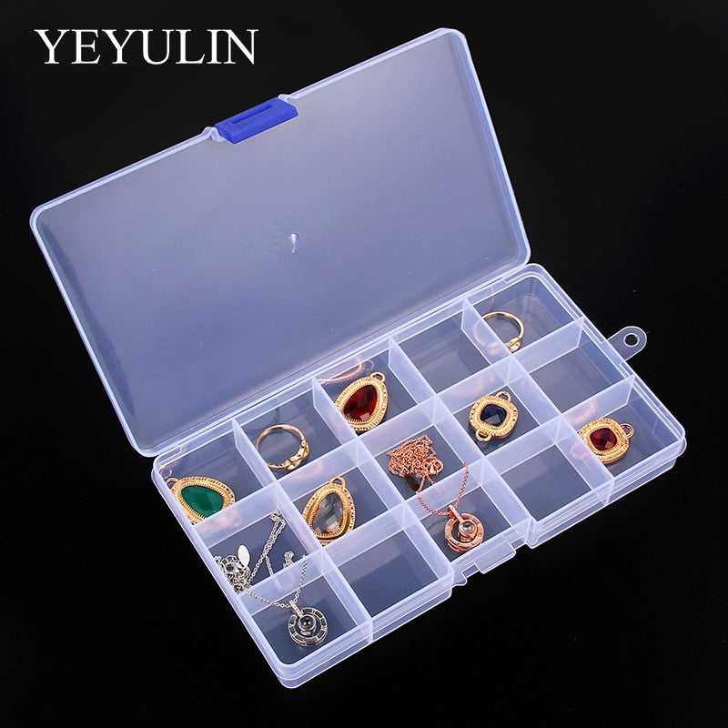 15 Slot Jewelry Rectangle Display Storage Charms  beads Organizer Case Box 1pcs