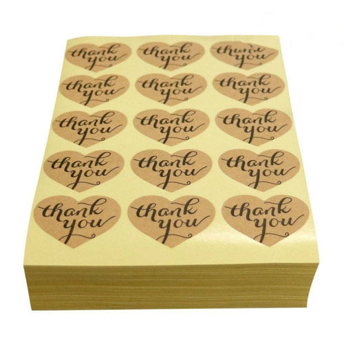 150PCS/lot 1.2in Thank You Sticker Labels Heart Shape Kraft Paper Sticker Labels for Wedding Party Favor Thank You Card,DIY Gift