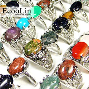 15Pcs Natural Stone Women Rings Mixed Style Retro Jewelry   Ring Lots LR020