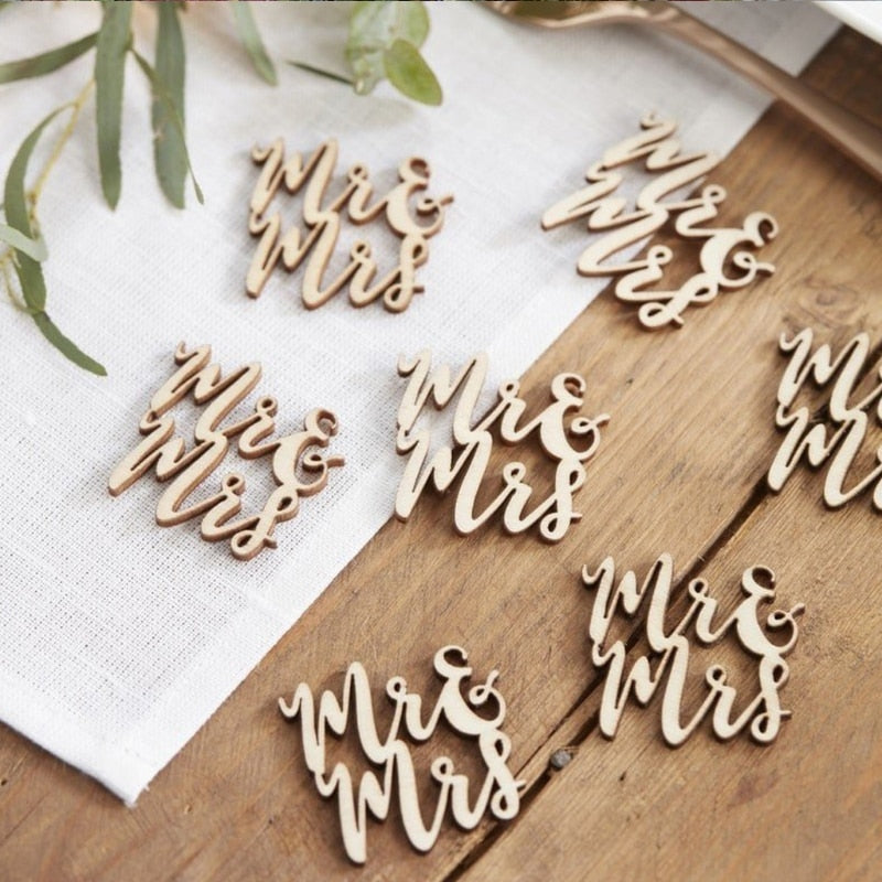 15Pcs Wooden Mr & Mrs Table Confetti Scatter Vintage Rustic Wedding Party Decor