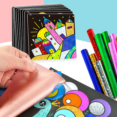 15pcs children magic cartoon stickers include 30pcs rainbow color Transfer painting paper/ Kids creative art painting stickers