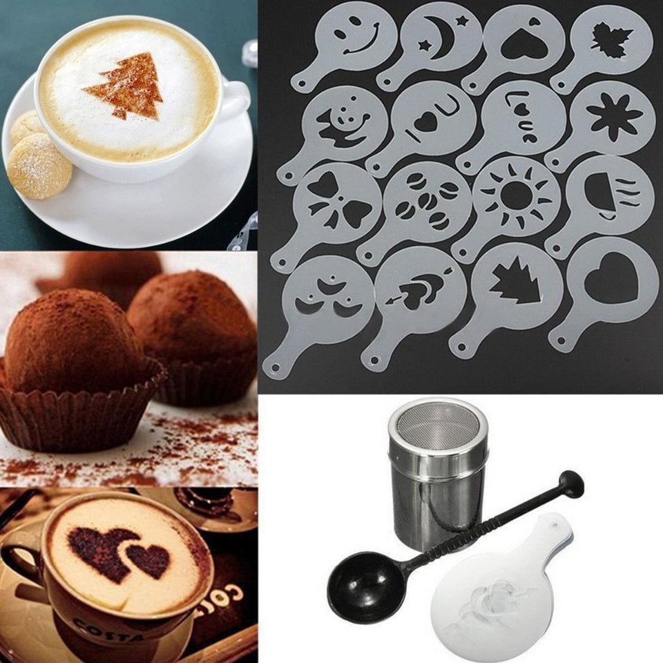 16PCS/set  Cafe Foam Spray Template Barista Stencils Decoration Tool Garland Mold Coffee Printing Flower Model